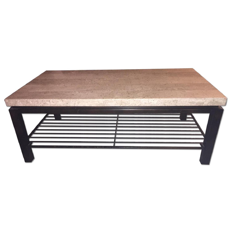 Macy S Tempo Travertine Top Rectangular Coffee Table Aptdeco