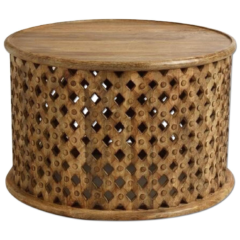 Vintage African Drum Coffee Table - image-0