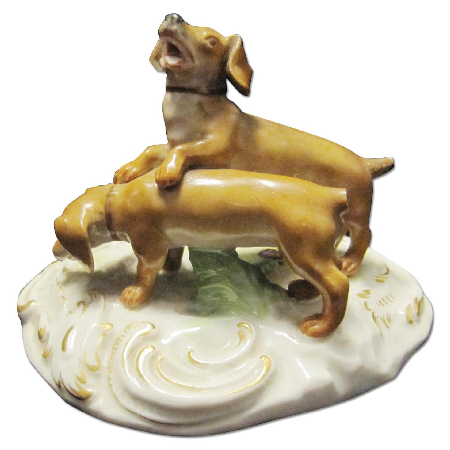 Meissen Figurine of 2 Dogs - image-0