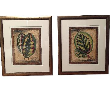 Framed Prints of Leaves - Pair