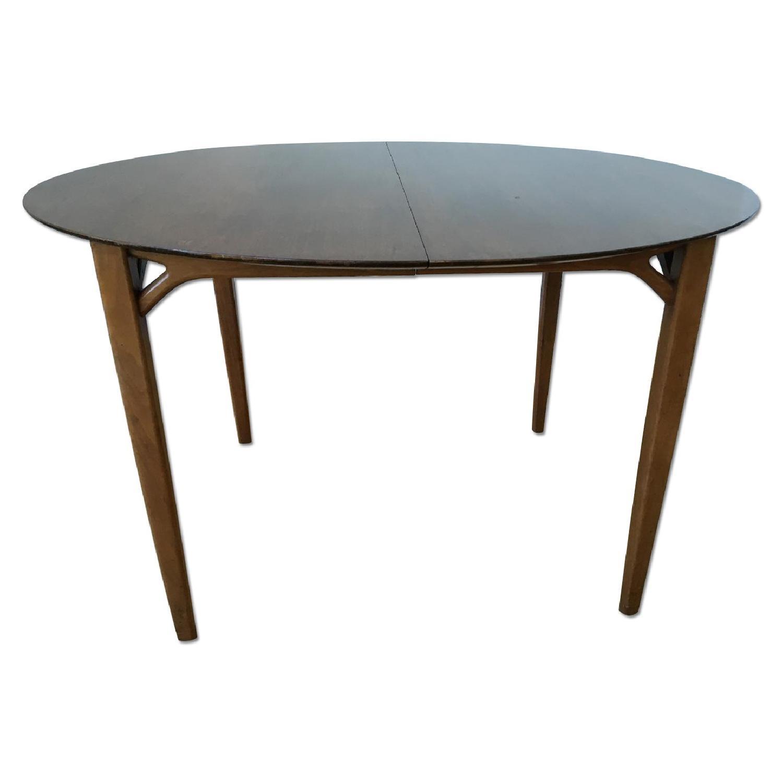 Greta Grossman Expandable Round Mid Century Modern Walnut Dining Table Aptdeco