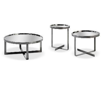 VIG Furniture Mirrored & Chrome Nesting Coffee Tables