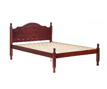 Mahogany Color Full Pine Wood Platform Bed