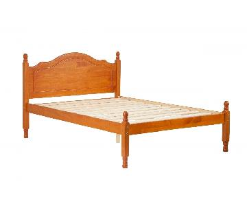 Honey Color Full Pine Wood Platform Bed