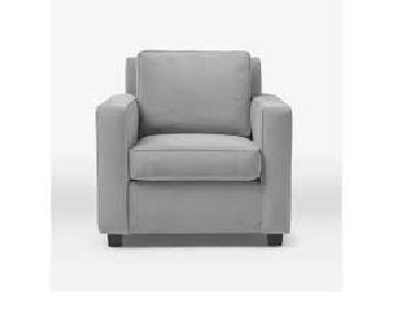 West Elm Henry Arm Chair in Steel Blue Velvet