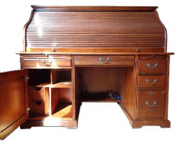 Riverside Meridian Cherry Roll-Top Computer Desk