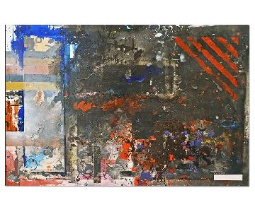 NYC Artist Giant Abstract Dark Modern Painting - Stonefield