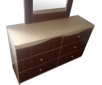 Brown 6 Drawer Dresser w/ Mirror
