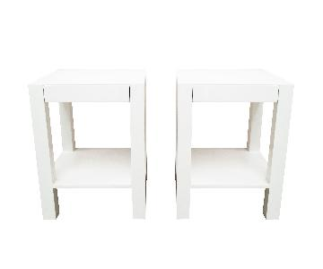 White Lacquered Parsons Bedside Table