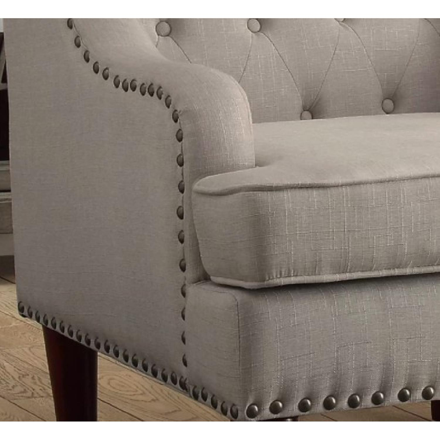 ... Cream/Grey Tufted Wingback Chair 1 ...
