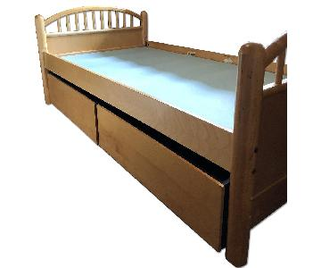 Stanley Natural Wood Twin Bed w/ 2 Storage Drawers