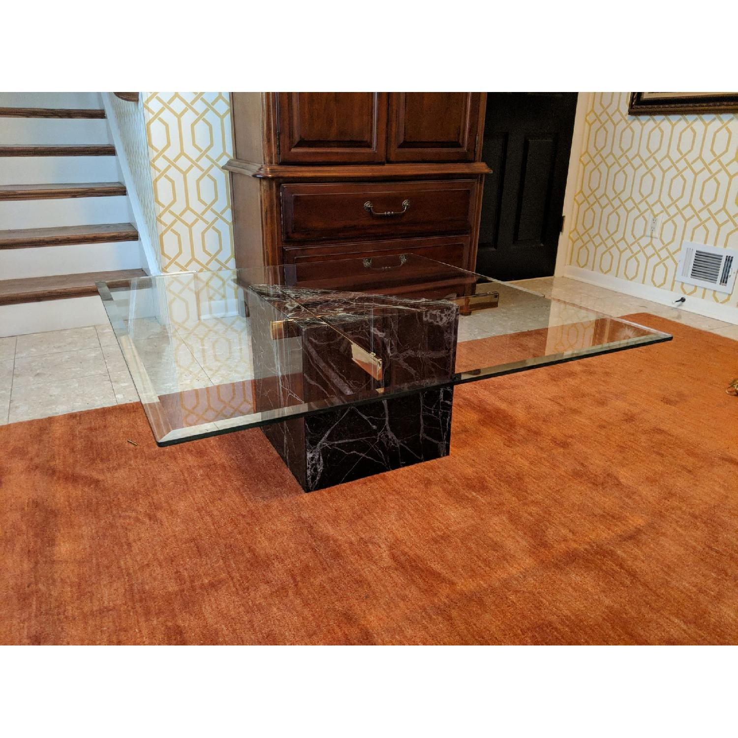 Artedi Marble Base Glass Top Coffee Table AptDeco - Marble base glass top coffee table
