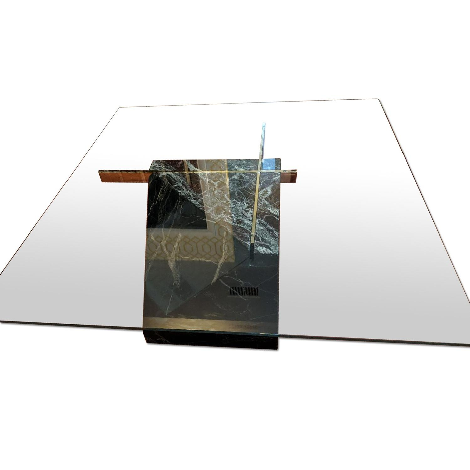 Marble Glass Top Coffee Table: Artedi Marble Base & Glass Top Coffee Table