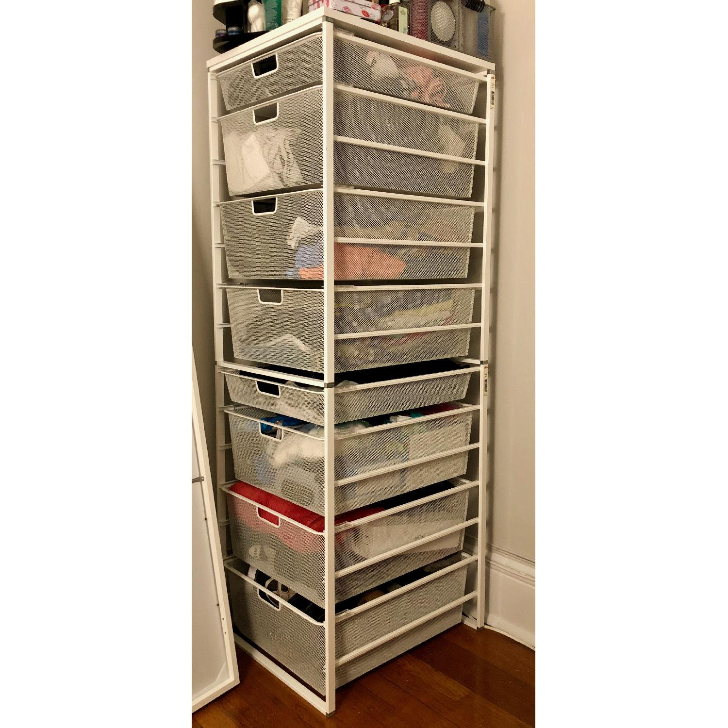 White Elfa Mesh Medium 8 Drawer Chest