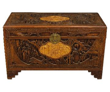 Chinese Trunk in Carved & Chiseled Wood