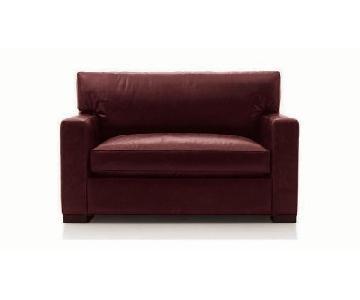 Crate & Barrel Red Leather Twin Sleeper Sofa