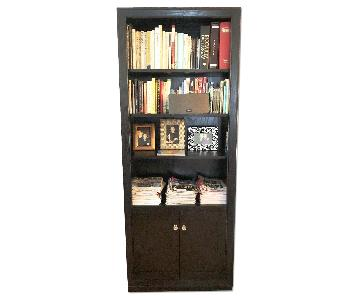 Crate & Barrel Black Wood Bookcase w/ Brass Pulls
