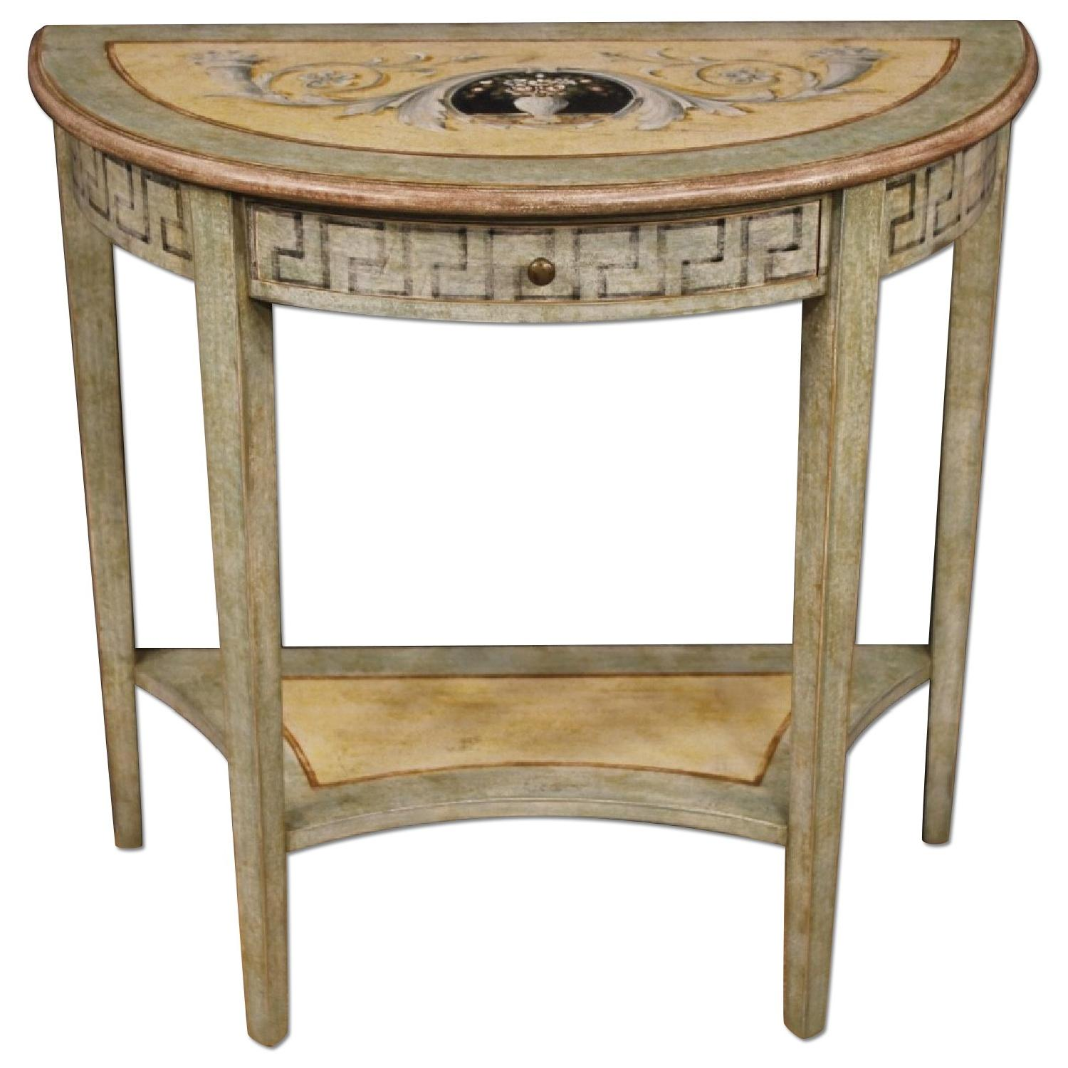 Louis XVI Style Italian Console in Lacquered Painted Wood
