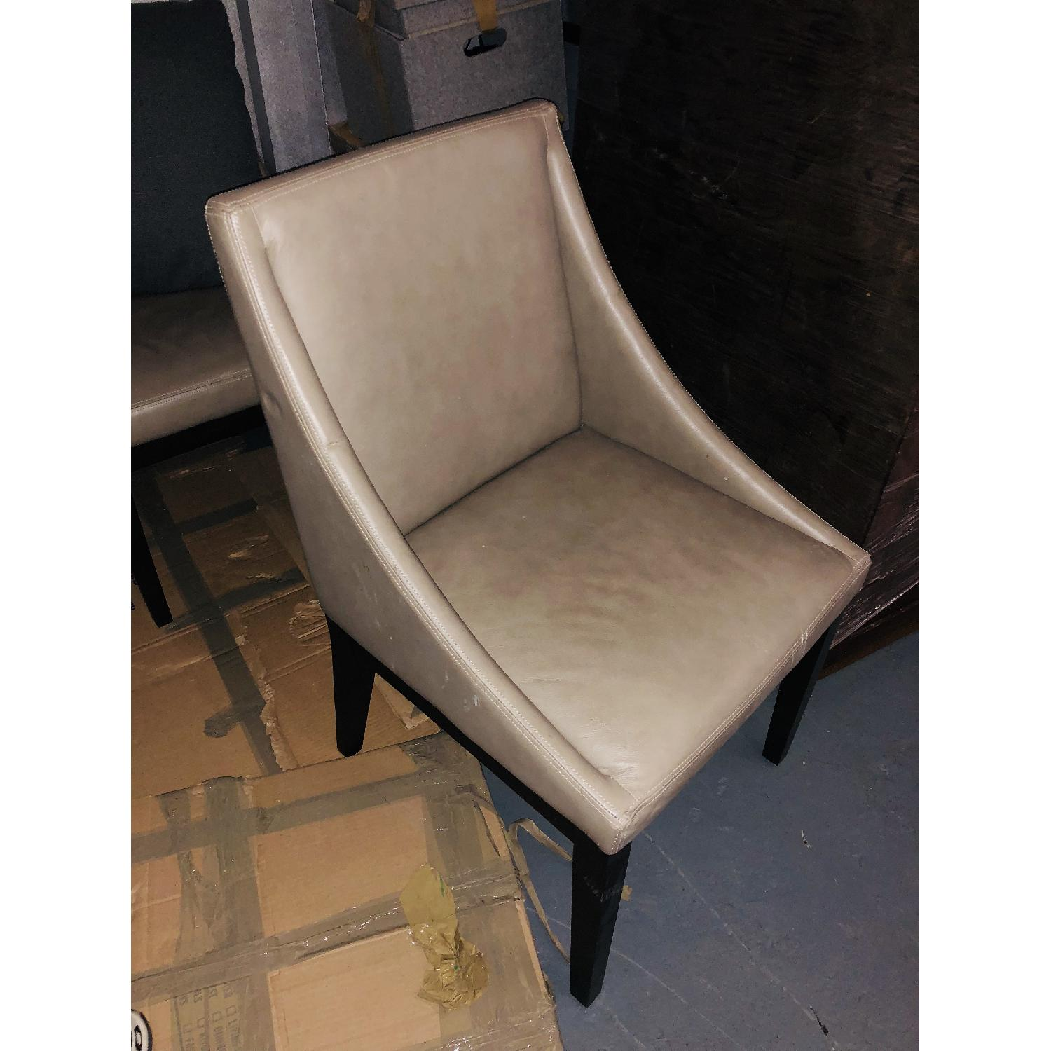West Elm Grey Leather Dining Room Chair-0