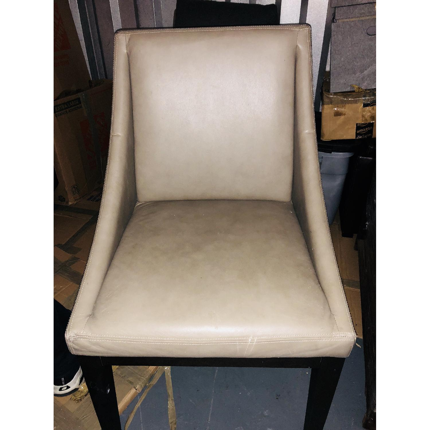 West Elm Grey Leather Dining Room Chair-1