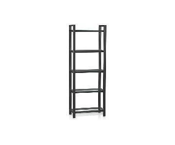 Crate & Barrel Pilsen Graphite Bookcase w/ Glass Shelves