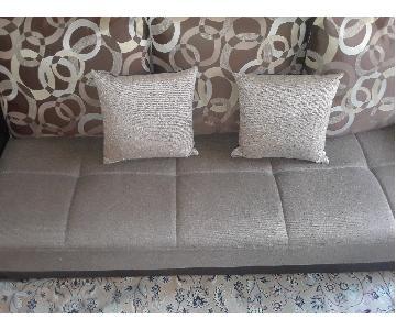 Brown Futon Sofa Bed w/ Storage & 5 Pillows