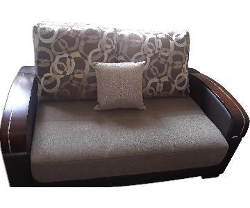 Brown Futon Loveseat w/ Storage & 3 Pillows