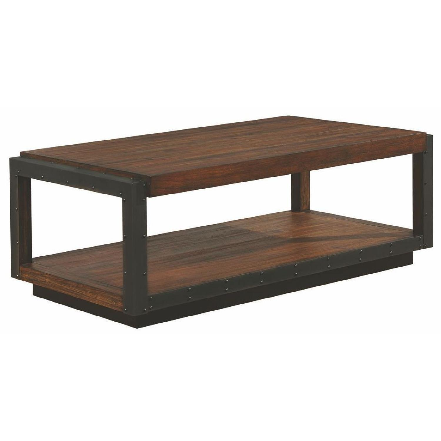 Superbe Industrial Style Coffee Table In Bourbon W/ Black Metal Trim ...