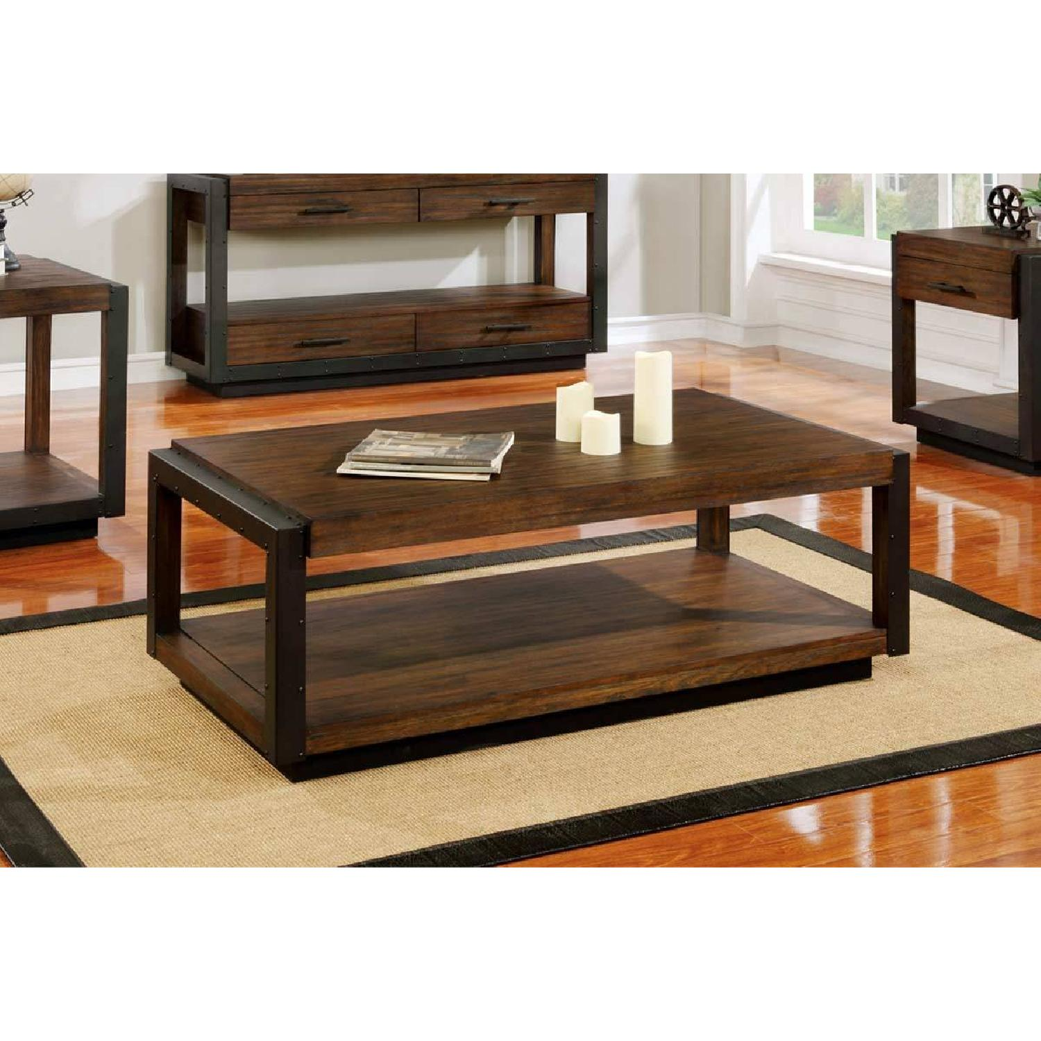 ... Industrial Style Coffee Table In Bourbon W/ Black Metal Trim 0 ...