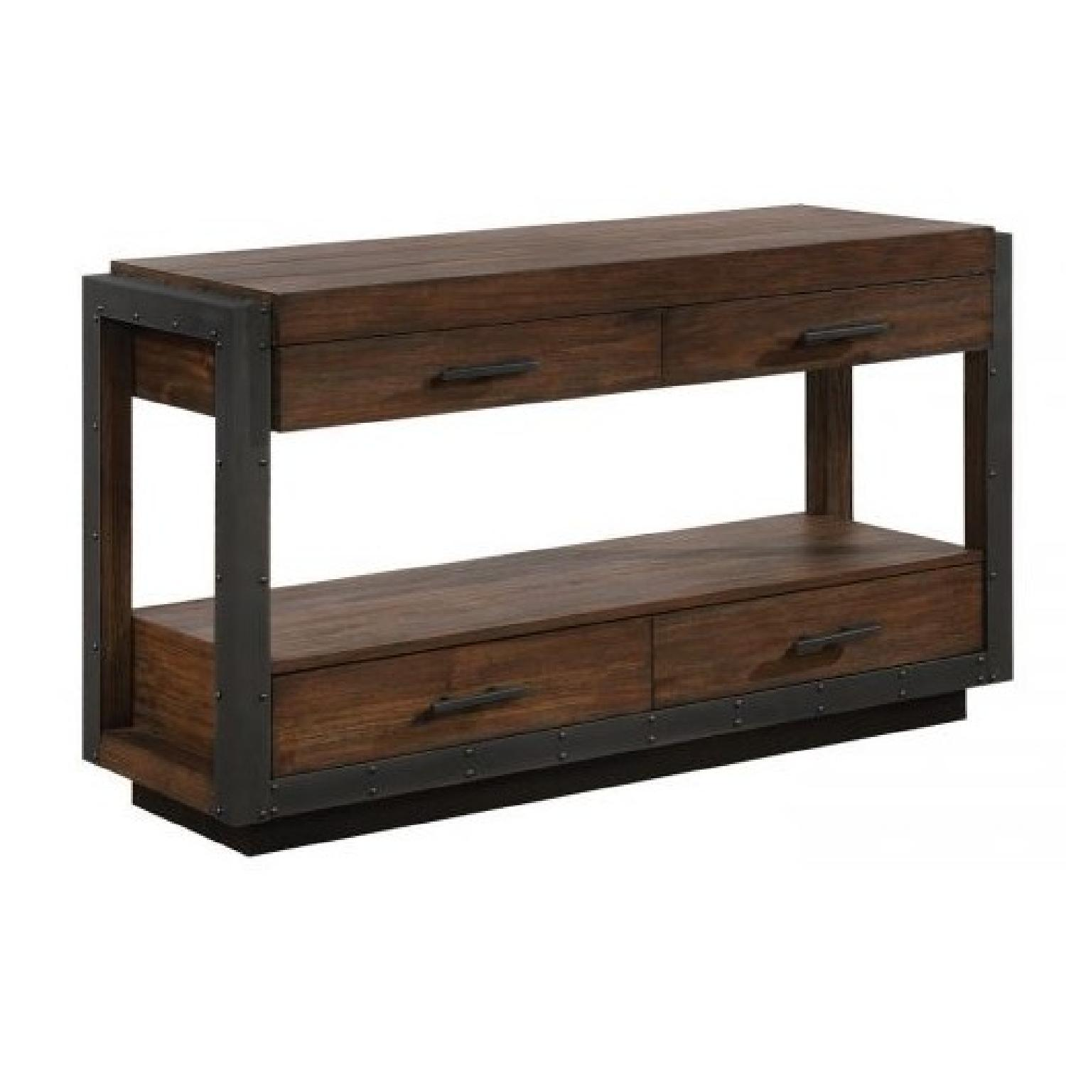Industrial Style Sofa Table in Bourbon w/ Black Metal Accent