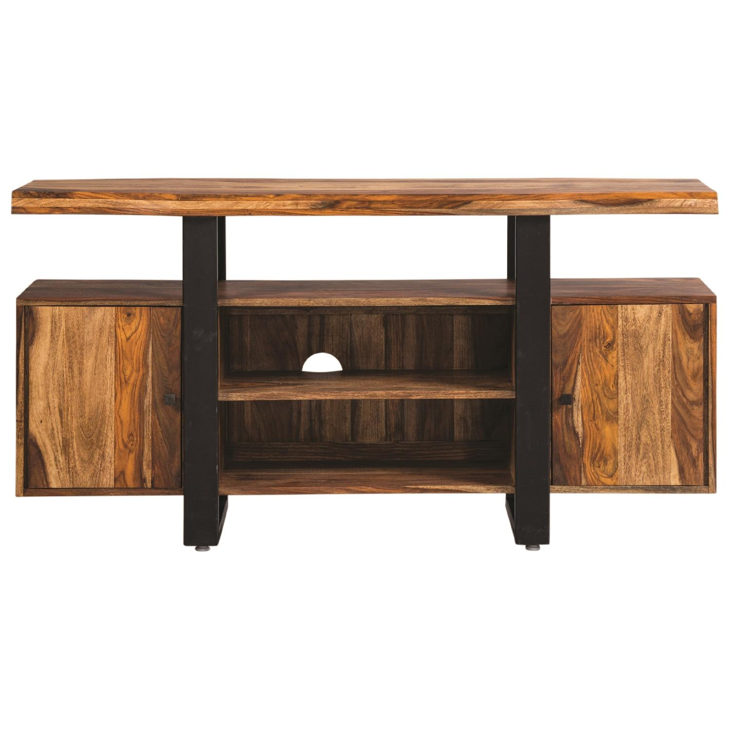 Modern TV Stand w/ Solid Wood Top & Black Metal Accent