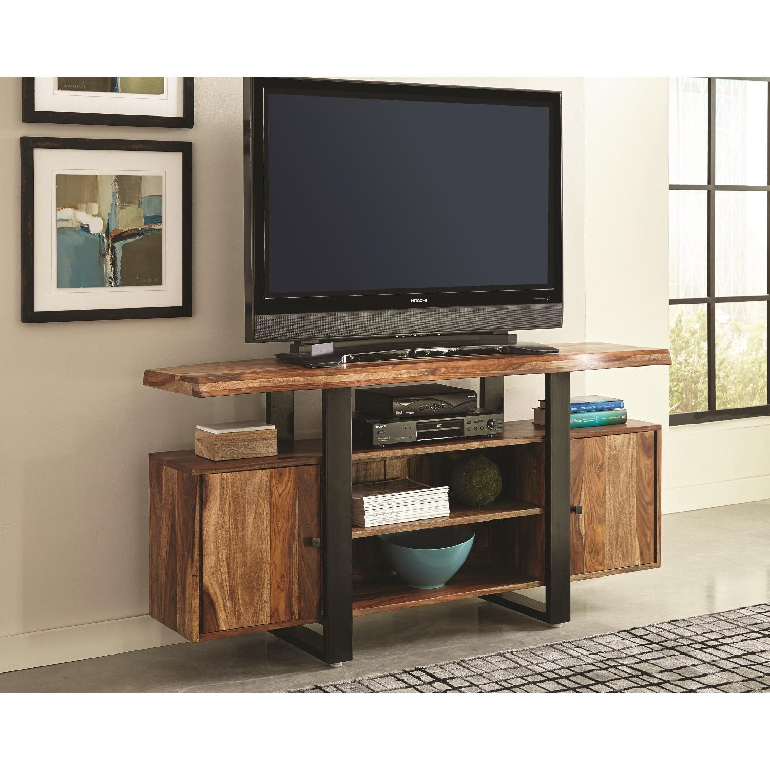 Modern Tv Stand W Solid Wood Top Black Metal Accent Aptdeco