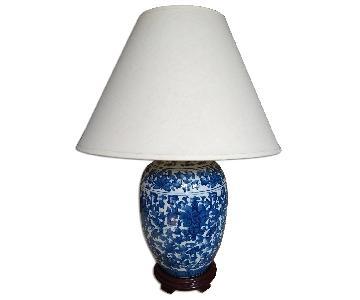 Classic Porcelain Oriental Lamp w/ White shade