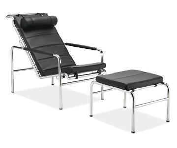 Room & Board Italian Leather & Chrome Chaise