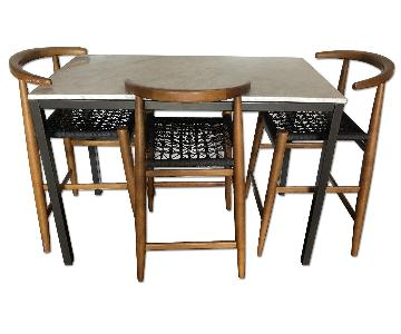 West Elm Marble Dining Table w/ 3 Counter Stools