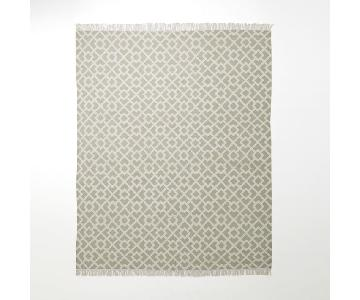West Elm Interlocking Metallic Diamond Flax Kilim Rug
