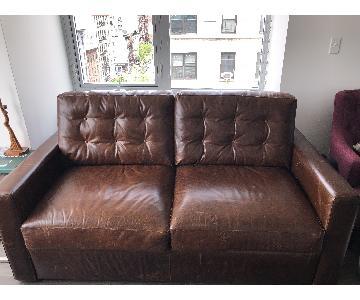 Crate & Barrel Allerton Brown Leather Queen Sleeper Sofa
