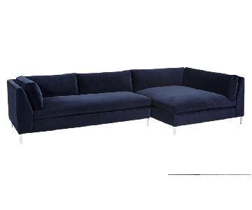 CB2 Decker Sectional Sofa in Navy Blue Velvet