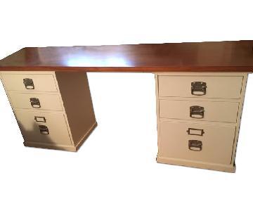 Pottery Barn 4-Drawer 2 File Cabinet Desk.