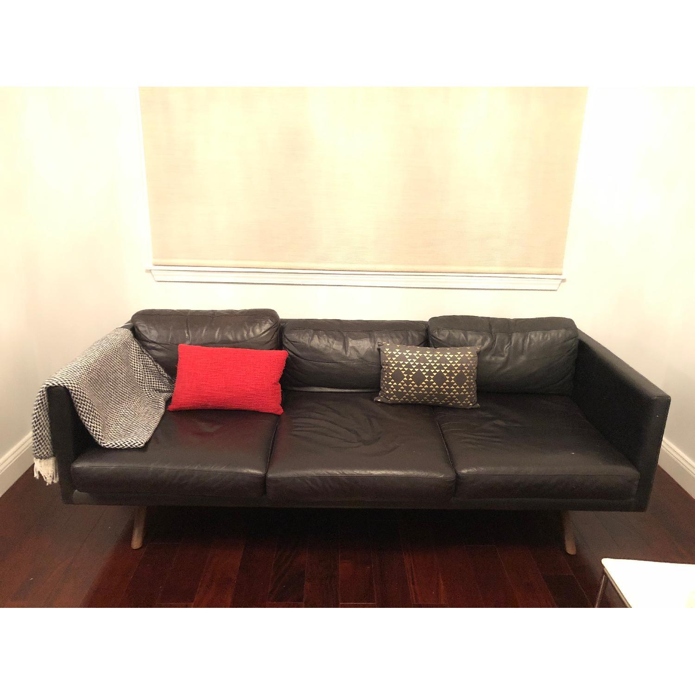 ... West Elm Black Brooklyn Leather Sofa 0 ...