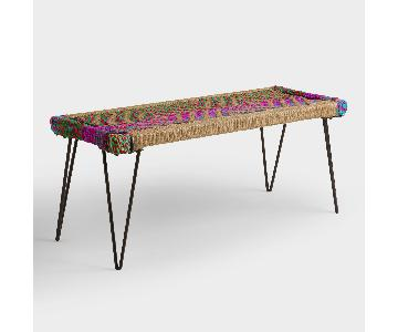 World Market Woven Boho Multicolor Bench
