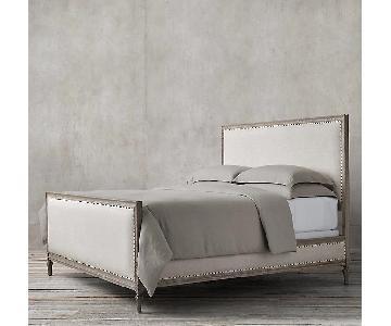 Restoration Hardware Upholstered Queen Bed Frame w Footboard