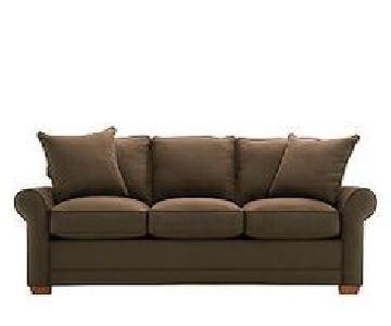 Raymour & Flanigan Suede Sofa