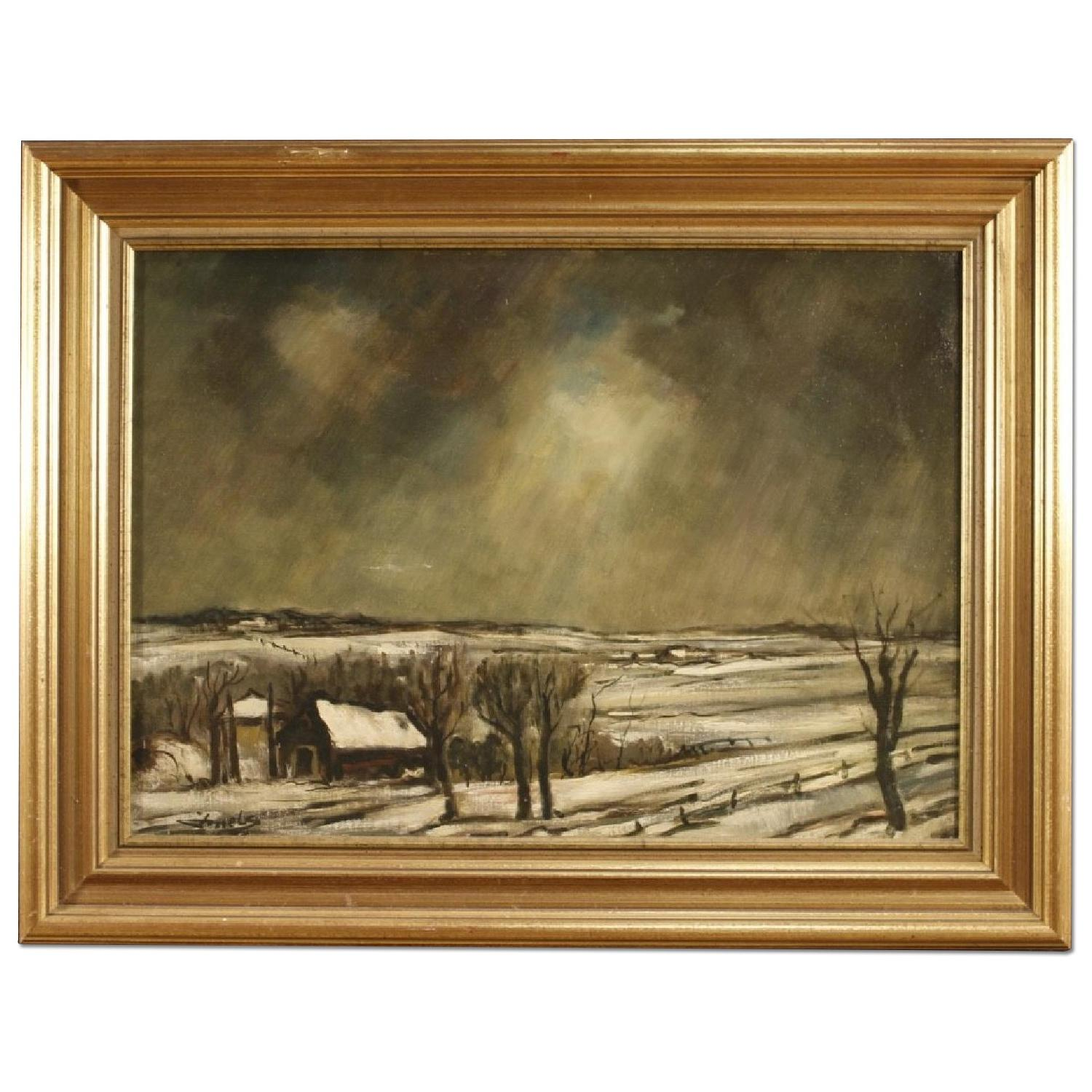 Dutch Signed Painting Oil On Canvas Winter Landscape