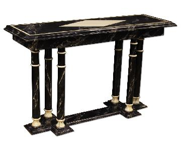French Console Table in Lacquered Faux Marble Wood