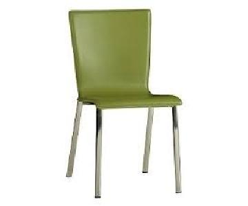 CB2 Olive Green Faux Leather Chair