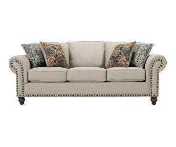 Raymour & Flanigan Classic Nailhead Trim Fabric Sofa