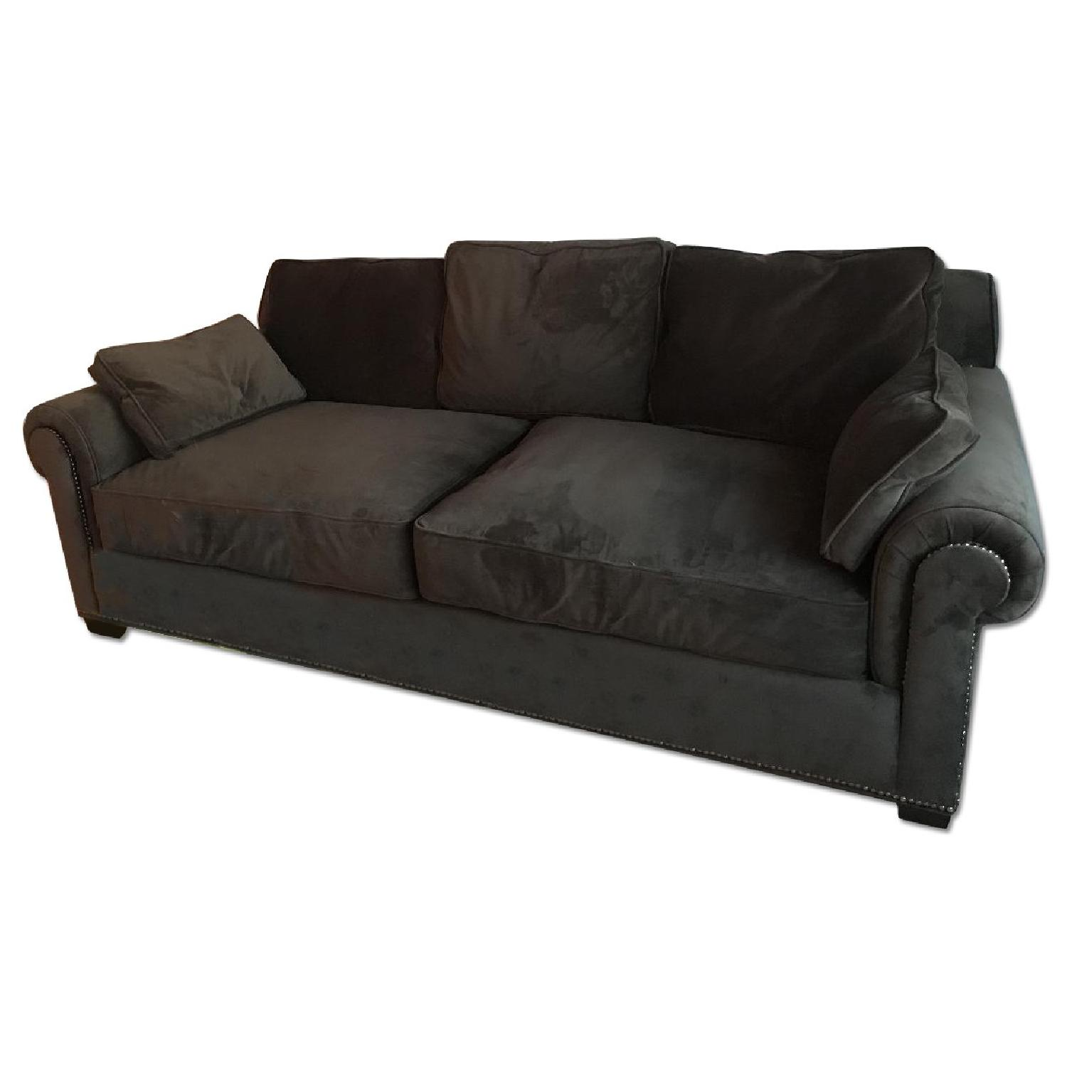 Z Gallerie Grey Microsuede Sofa ...
