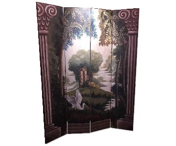 Devonshire Home & Garden Hand Painted 4 Panel Screen