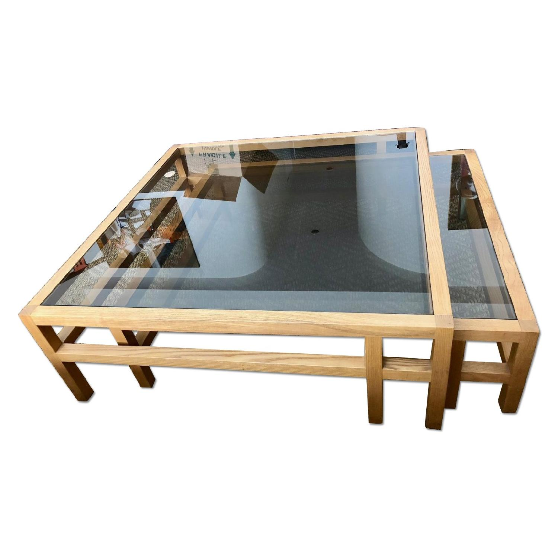 Roche Bobois Glass Wood Double Coffee Table AptDeco
